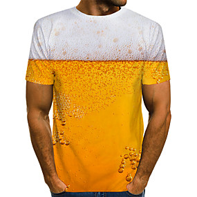 cheap Athleisure Wear-Men's T shirt Shirt 3D Print Graphic Beer Print Short Sleeve Daily Tops Streetwear Round Neck White Red Yellow