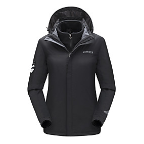 cheap Camping, Hiking & Backpacking-Women's Hiking Jacket Hiking 3-in-1 Jackets Winter Outdoor Solid Color Waterproof Windproof Fleece Lining Breathable Jacket Hunting Ski / Snowboard Fishing White Black Red Pink / Warm