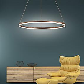 billige Hengelamper-LED-pendellampe 40cm / 60cm / 80cm 1-lys ring sirkel design aluminiummalte overflater 25w / 38w / 50w smart wifi-kontroll dimbar med fjernkontroll