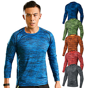 cheap Camping, Hiking & Backpacking-Men's Hiking Tee shirt Long Sleeve Crew Neck Tee Tshirt Top Outdoor Ultra Light (UL) Quick Dry Breathable Soft Spring Summer Elastane Terylene Stripes Yellow Red Blue Hunting Fishing Climbing