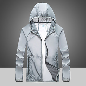cheap Running & Jogging-Men's Long Sleeve Windbreaker Running Skin Jacket Full Zip Outerwear Coat Top Athletic Athleisure Summer Waterproof UV Sun Protection Quick Dry Fitness Gym Workout Running Jogging Sportswear Solid