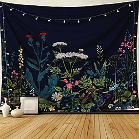 "cheap Bedroom-dark blue tapestry floral plants tapestry wall hanging herbs tapestry wild flowers wall tapestry nature scenery tapestry for bedroom, dorm. 59""x51"""
