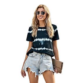 cheap Athleisure Wear-Women's T shirt Striped Print Round Neck Tops Basic Basic Top Black