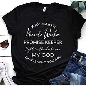 cheap Athleisure Wear-miracle worker t shirt women way maker miracle worker promise keeper shirts christian shirt short sleeve graphic tees tops green