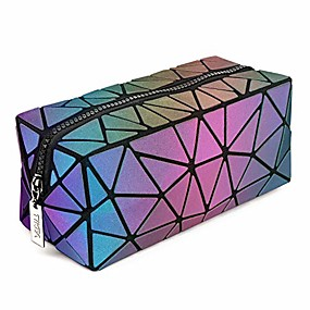 cheap Travel-cosmetic bag - makeup pouch geometric clutch luminous beauty bag small travel cosmetic wristlets, holographic and reflective