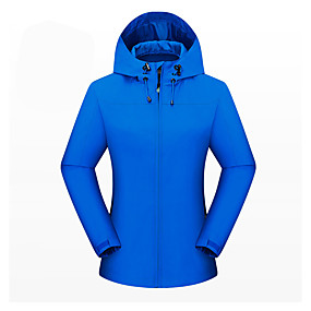 cheap Camping, Hiking & Backpacking-Women's Hiking Jacket Autumn / Fall Winter Spring Outdoor Solid Color Thermal Warm Waterproof Windproof Breathable Jacket Full Length Hidden Zipper Climbing Camping / Hiking / Caving Traveling Cream