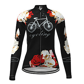 cheap Cycling & Motorcycling-21Grams Women's Long Sleeve Cycling Jersey Winter Elastane Blue Red Yellow Floral Botanical Bike Top Mountain Bike MTB Road Bike Cycling Ultraviolet Resistant Quick Dry Breathable Sports Clothing