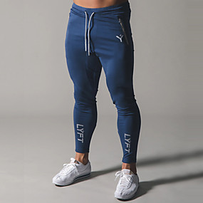 cheap Running & Jogging-Men's Sweatpants Joggers Athletic Bottoms Drawstring Zipper Cotton Winter Fitness Gym Workout Running Training Quick Dry Moisture Wicking Soft Normal Sport Black Grey Navy Blue Light Blue / Stretchy