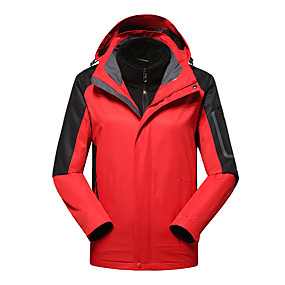 cheap Camping, Hiking & Backpacking-Men's Hiking Jacket Hiking 3-in-1 Jackets Autumn / Fall Winter Spring Outdoor Patchwork Windproof Fleece Lining Warm Breathable Winter Jacket Hunting Fishing Climbing Dark Grey Blue / Black White