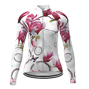 cheap Cycling & Motorcycling-21Grams Women's Long Sleeve Cycling Jersey Polyester White Butterfly Novelty Floral Botanical Bike Jersey Top Mountain Bike MTB Road Bike Cycling Quick Dry Breathable Reflective Strips Sports