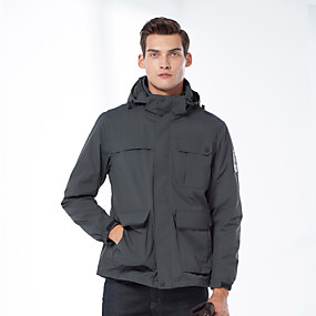 cheap Camping, Hiking & Backpacking-Men's Hiking Jacket Hiking 3-in-1 Jackets Autumn / Fall Winter Spring Outdoor Solid Color Windproof Fleece Lining Warm Breathable Winter Jacket Full Length Hidden Zipper Hunting Ski / Snowboard