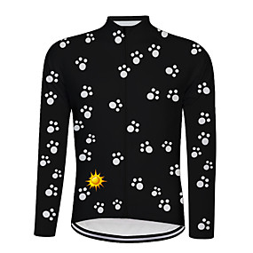 cheap Cycling & Motorcycling-21Grams Men's Long Sleeve Cycling Jersey Summer White Black Cartoon Bike Jersey Top Mountain Bike MTB Road Bike Cycling UV Resistant Quick Dry Breathable Sports Clothing Apparel / Stretchy / Race Fit