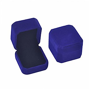 cheap Accessories-set of 2 blue velvet couple ring box earring jewelry case gift boxes 2.2x1.9x1.6inch (2pcs ring box)