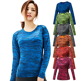 cheap Camping, Hiking & Backpacking-Women's Hiking Tee shirt Long Sleeve Crew Neck Tee Tshirt Top Outdoor Portable Ultra Light (UL) Quick Dry Breathable Spring Summer Elastane Terylene Stripes Red Fuchsia Blue Hunting Fishing Climbing