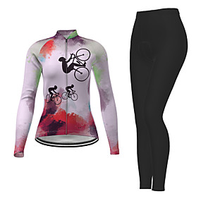 cheap Cycling & Motorcycling-21Grams Women's Long Sleeve Cycling Jersey with Tights Winter Polyester Red Rainbow Novelty Bike Jersey Tights Clothing Suit Quick Dry Breathable Back Pocket Sports Rainbow Mountain Bike MTB Road