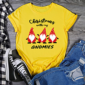 cheap Athleisure Wear-Women's Christmas T shirt Graphic Prints Print Round Neck Tops 100% Cotton Christmas Basic Top White Black Purple