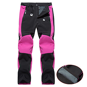 cheap Camping, Hiking & Backpacking-Women's Hiking Pants Trousers Softshell Pants Winter Outdoor Thermal Warm Waterproof Windproof Fleece Lining Spandex Pants / Trousers Bottoms Purple Fuchsia Camping / Hiking Hunting Fishing S M L XL