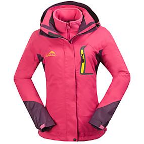 cheap Camping, Hiking & Backpacking-Cikrilan Women's Hiking Jacket Hoodie Jacket Hiking 3-in-1 Jackets Autumn / Fall Spring Outdoor Patchwork Thermal Warm Waterproof Windproof Fleece Lining Jacket 3-in-1 Jacket Winter Jacket Fleece