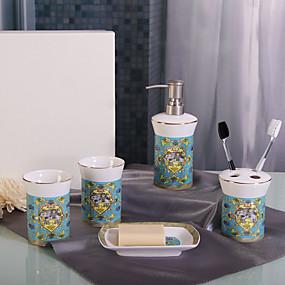 cheap Bathroom Accesscories Set-Bathroom Accessories Set 5 Piece Ceramic Complete Bathroom Set for Bath Decor Includes Toothbrush Holder Soap Dispenser Soap Dish 2 Mouthwash Cup Home and Hotel