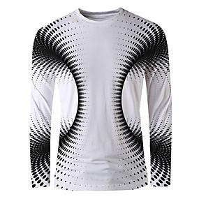 cheap Athleisure Wear-Men's T shirt 3D Print Graphic Optical Illusion Print Long Sleeve Daily Tops Basic Elegant Round Neck Black / White