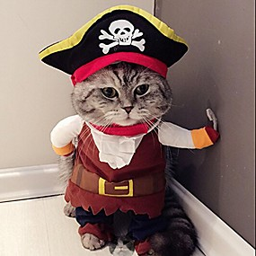 cheap Pet Costumes-new funny pet clothes pirate dog cat costume suit corsair dressing up party apparel clothing for cat dog plus hat
