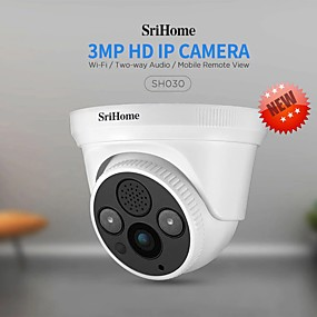 cheap Indoor IP Network Cameras-Sricam SH030 3.0MP Dome IP Camera H.265 Security CCTV Wifi Camera Mobile Remote View Two Way Audio Alarm Push ONVIF Work On NVR