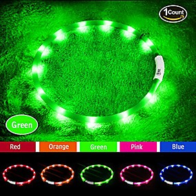 cheap Pet Costumes-led dog collar,usb rechargeable glowing dog collars, light up collar improved pet safety &visibility at night, 3 flashing modes,water-resistant lighted collar fits for small medium large dogs