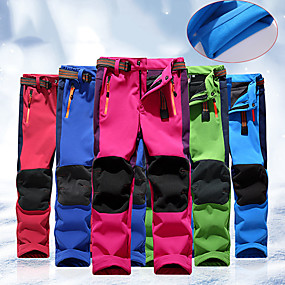 cheap Camping, Hiking & Backpacking-Boys' Girls' Hiking Pants Trousers Softshell Pants Winter Outdoor Thermal Warm Windproof Fleece Lining Breathable Cotton Warm Pants Cargo Pants Bottoms Light Blue Big red Green Navy Blue Rose Red