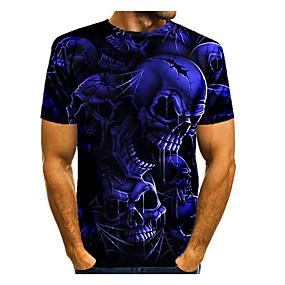 cheap Athleisure Wear-Men's T shirt Shirt 3D Print Graphic 3D Skull Print Short Sleeve Halloween Tops Round Neck Blue Black Grey