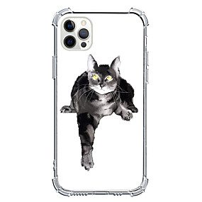 cheap Cases & Covers-Cat Case For Apple iPhone 12 iPhone 11 iPhone 12 Pro Max Unique Design Protective Case Shockproof Back Cover TPU