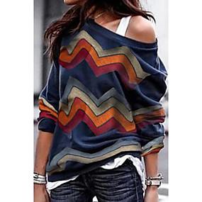 cheap Athleisure Wear-Women's Pullover Sweatshirt Solid Color Plain Daily Weekend Casual Hoodies Sweatshirts  Blue Rainbow