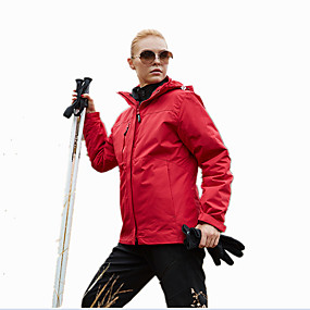 cheap Camping, Hiking & Backpacking-Women's Hiking Jacket Hiking 3-in-1 Jackets Hiking Windbreaker Winter Outdoor Solid Color Windproof Breathable Quick Dry Warm Jacket Winter Jacket Single Slider Hunting Ski / Snowboard Climbing Cream