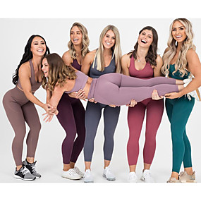 cheap Yoga & Fitness-Women's 2pcs Yoga Suit Winter Seamless Racerback Removable Pad Black Purple Red Nylon Fitness Gym Workout Running High Waist Cropped Leggings Bra Top Sport Activewear Tummy Control Butt Lift 4 Way