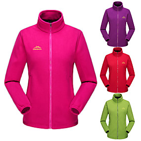 cheap Camping, Hiking & Backpacking-Women's Hiking Jacket Hiking Fleece Jacket Autumn / Fall Winter Outdoor Solid Color Thermal Warm Windproof Fleece Lining Warm Winter Fleece Jacket Fleece Full Length Visible Zipper Camping / Hiking