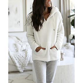 cheap Athleisure Wear-Women's Pullover Hoodie Sweatshirt Teddy Coat Solid Color Daily Fuzzy Hoodies Sweatshirts  White