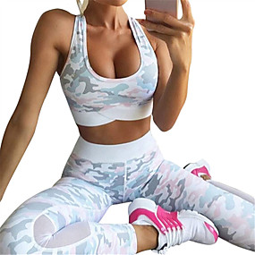 cheap Exercise, Fitness & Yoga-Women's Yoga Suit Winter Removable Pad Wireless Camo Blue Pink Mesh Fitness Gym Workout Running High Waist Leggings Bra Top Sport Activewear Tummy Control Butt Lift 4 Way Stretch Breathable Quick Dry
