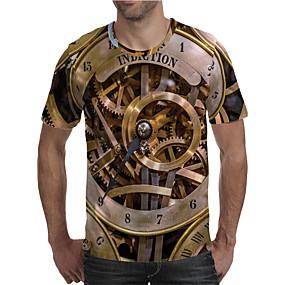 cheap Athleisure Wear-Men's T shirt Shirt 3D Print Graphic 3D Machine Plus Size Print Short Sleeve Daily Tops Elegant Exaggerated Round Neck Rainbow