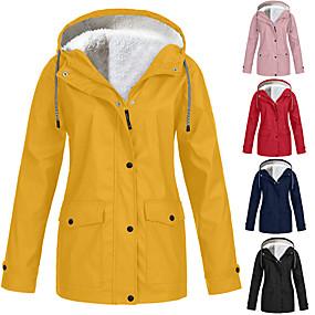 cheap Women-Women Rain Coat for Outdoor Waterproof Plus Size Hooded Raincoat Windproof Rain Jacket Fur Lined Lightweight Winter Coat