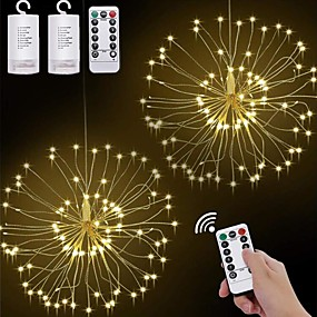 cheap LED String Lights-2pcs LED Hanging Starburst String Lights 120 LEDs DIY firework Copper Fairy Garland Christmas Lights Outdoor Festival Party Holiday Gift Twinkle Light 1pc