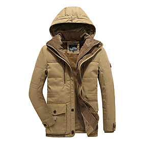 cheap Athleisure Wear-Men's Winter Parka Daily Solid Color Polyester Long Sleeve Sapphire / khaki / Army Green L / XL / XXL