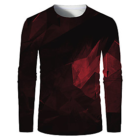 cheap Athleisure Wear-Men's T shirt 3D Print Graphic Optical Illusion Plus Size Print Long Sleeve Daily Tops Elegant Exaggerated Red