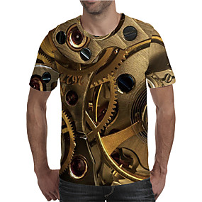cheap Athleisure Wear-Men's T shirt 3D Print Graphic 3D Machine Plus Size Print Short Sleeve Daily Tops Elegant Exaggerated Gold
