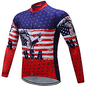 cheap Cycling & Motorcycling-21Grams Men's Long Sleeve Cycling Jersey Winter Polyester Red USA National Flag Bike Jersey Top Mountain Bike MTB Road Bike Cycling Warm Quick Dry Breathable Sports Clothing Apparel / Stretchy