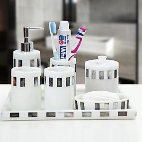 billige Soap Dispensers-Badetilbehørssett, 7 deler harpiks komplett badesett for badedekorasjon, inkluderer tannbørsteholder, såpedispenser, såpeskål, bomullspinne, brett, 2 munnvaskekopper hjemme og hotell