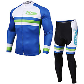 cheap Cycling & Motorcycling-21Grams Men's Long Sleeve Cycling Jersey with Tights Winter Fleece Polyester Blue Novelty Bike Clothing Suit Thermal Warm Fleece Lining 3D Pad Quick Dry Breathable Sports Novelty Mountain Bike MTB