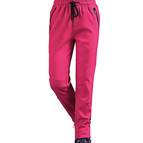 cheap Camping, Hiking & Backpacking-Women's Hiking Pants Trousers Softshell Pants Solid Color Winter Outdoor Regular Fit Windproof Fleece Lining Breathable Warm Pants / Trousers Bottoms Black Grey Rose Red Hunting Climbing Camping
