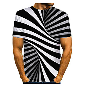 cheap Athleisure Wear-Men's T shirt 3D Print Graphic Abstract 3D Print Short Sleeve Daily Tops Black / White