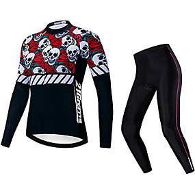 cheap Cycling & Motorcycling-21Grams Women's Long Sleeve Cycling Jersey with Tights Winter Fleece Polyester Black Sugar Skull Skull Bike Clothing Suit Fleece Lining 3D Pad Warm Quick Dry Breathable Sports Graphic Mountain Bike
