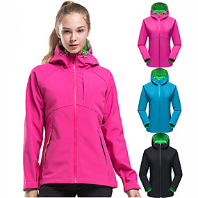 cheap Camping, Hiking & Backpacking-Women's Hiking Softshell Jacket Hiking Jacket Hoodie Jacket Autumn / Fall Winter Outdoor Solid Color Thermal Warm Waterproof Windproof Warm Jacket Top Fleece PU Leather Softshell Full Length Visible