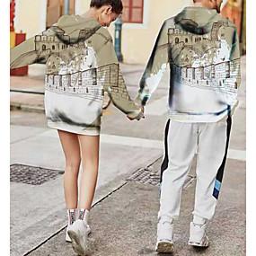 cheap Athleisure Wear-Women's Men's Pullover Hoodie Sweatshirt Graphic 3D Chinese Style Hooded Weekend 3D Print Casual Streetwear Hoodies Sweatshirts  Long Sleeve White